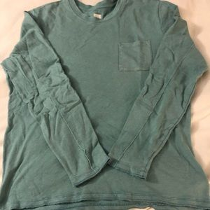 GAP MENS WASHED FIT CREW TURQUOISE SIZE LARGE.